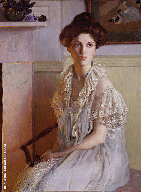 Lady with Bowl of Violets c1910 By Lilla Cabot Perry