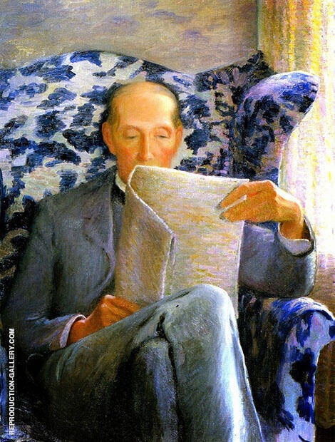 Thomas Sergeant Perry Reading a Newspaper By Lilla Cabot Perry