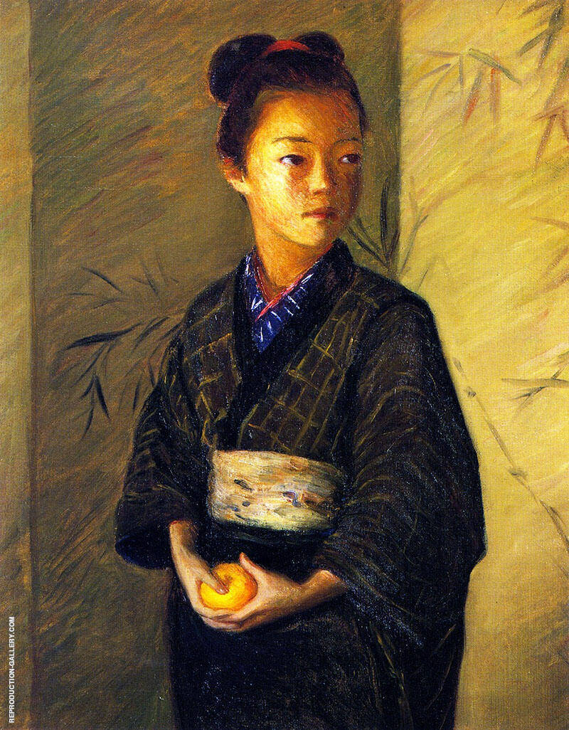 Portrait of a Young Girl with an Orange 1901 Painting By Lilla Cabot Perry