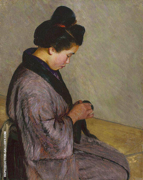 Japanese Lady Sewing 1900c By Lilla Cabot Perry