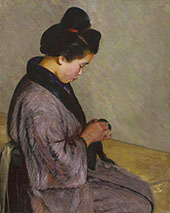 Japanese Lady Sewing c1900 By Lilla Cabot Perry