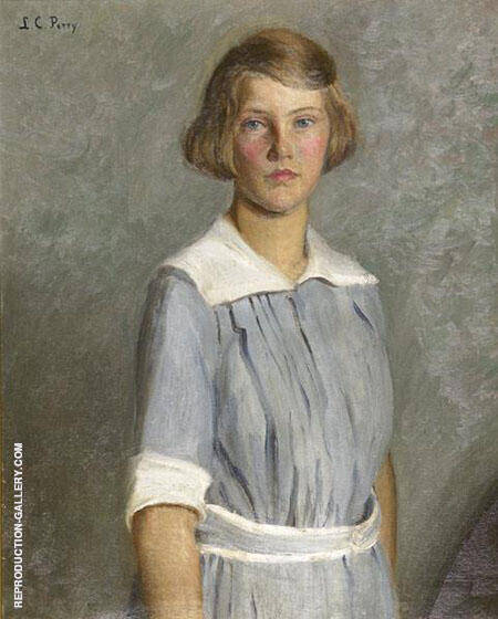 Portrait of Anita Grew as a Young Girl Painting By Lilla Cabot Perry