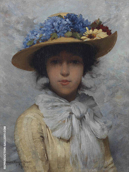 Woman in White Dress and Straw Hat By Lilla Cabot Perry