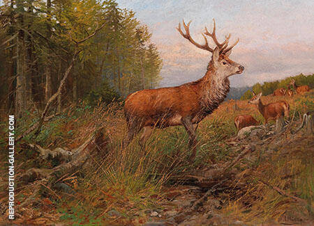 Red Deer on The Lookout Painting By Albert Ernst Muhlig