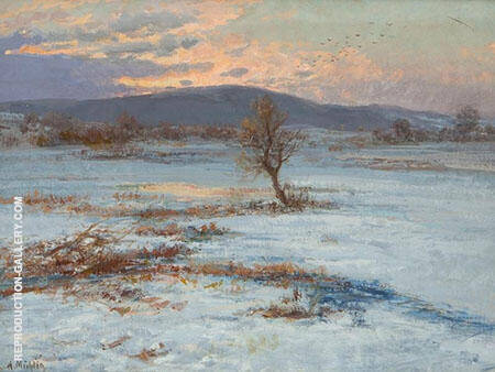 Winter Twilight Painting By Albert Ernst Muhlig - Reproduction Gallery