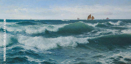 Waves Breaking in Shallow Waters with Boats off to The Fishing Grounds Beyond By David James