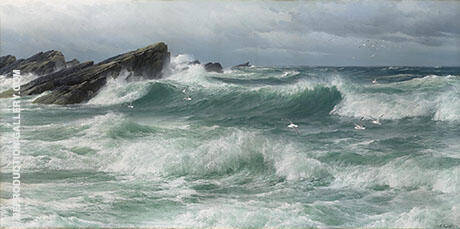 Waves Breaking on a Rocky Coast By David James