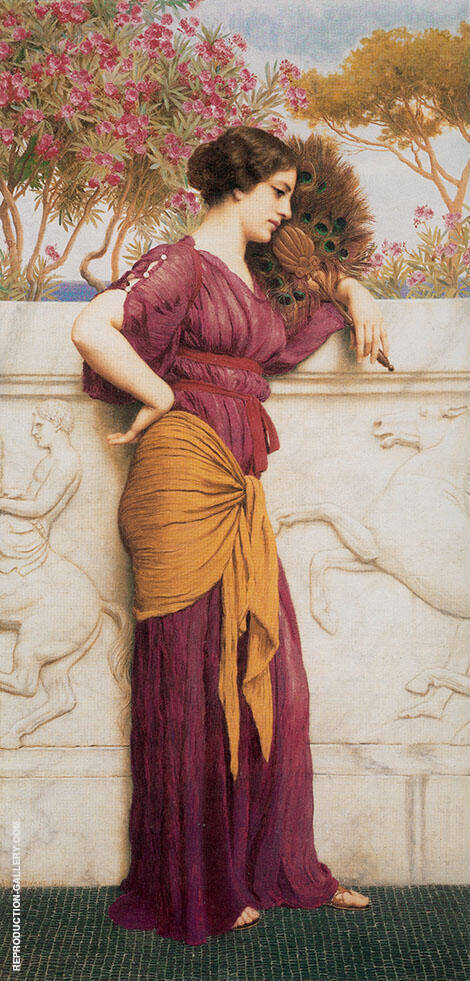 The Peacock Fan 1912 Painting By John William Godward
