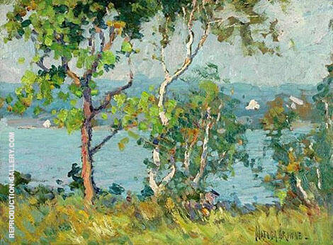 A Lake Viewed Through Trees By Matilda Browne