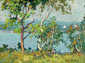 A Lake Viewed Through Trees By Matilda Browne