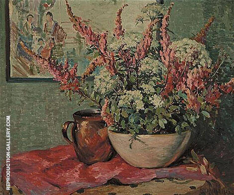 Flowers and Copper Pot on a Tabletop By Matilda Browne