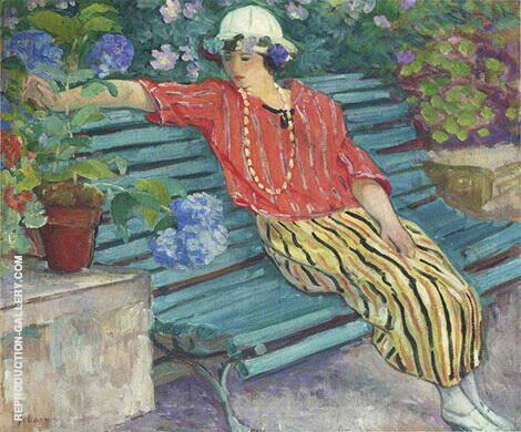 Jeune Femme aux Hortensias Painting By Henri Lebasque