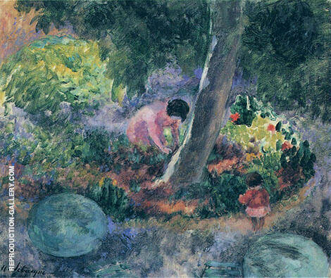 A Woman and Child inThe Garden By Henri Lebasque