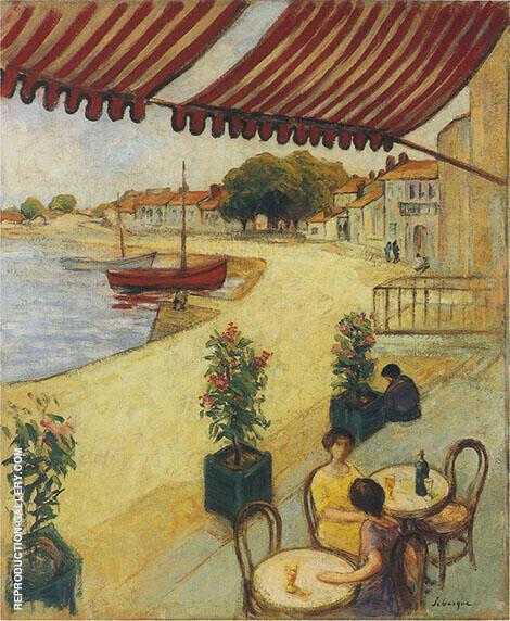 Cafe sur la Port By Henri Lebasque