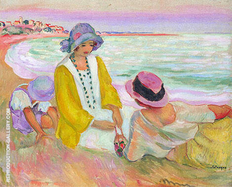 Three Young Girls at The Beach By Henri Lebasque