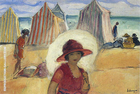 A Girl by The Sea Painting By Henri Lebasque - Reproduction Gallery