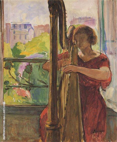 A Girl Playing a Harp By Henri Lebasque