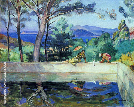 Blue Reflection in The Fountain at Pradet By Henri Lebasque