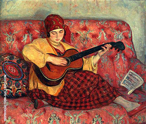 Books and Art Young Girl with Guitar 1923 By Henri Lebasque