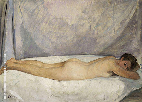 Female Nude Laying 1928 By Henri Lebasque