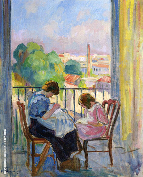 Girl Sewing at The Window By Henri Lebasque