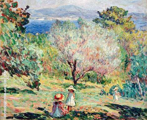 Girls in a Mediterranean Landscape By Henri Lebasque