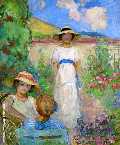 Les Andelys Three Girls in a Garden 1914 By Henri Lebasque