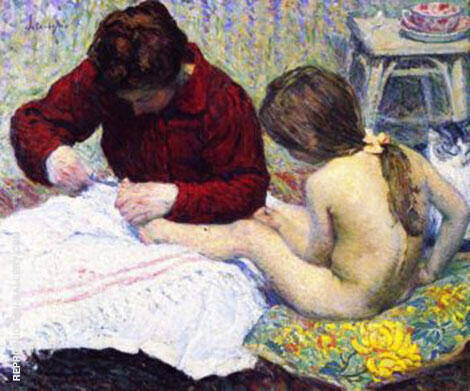 Madame Lebasque with Daughter By Henri Lebasque