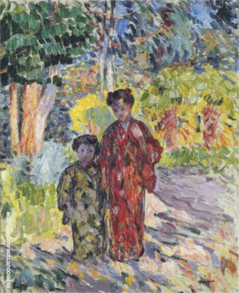 Marthe and Nono in Japanese Robes By Henri Lebasque