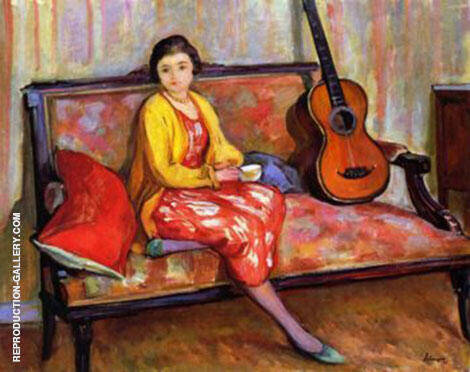 Nono and a guitar By Henri Lebasque