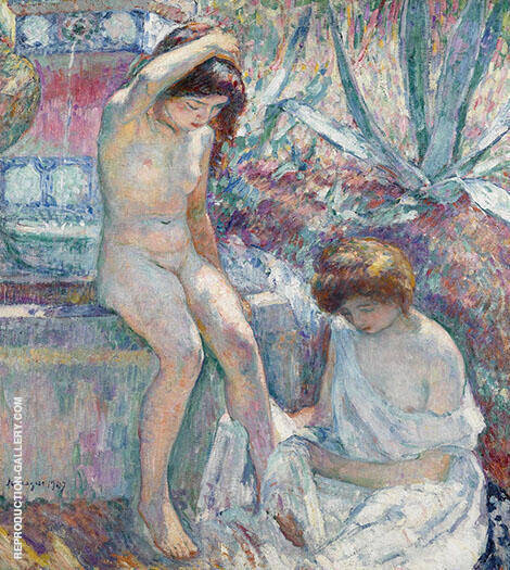 Saint Tropez Madame Lebasque and Marthe Near Fountain 1907 By Henri Lebasque