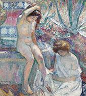 Saint Tropez Madame Lebasque and Marthe Near Fountain 1907 By Henri Lebasque