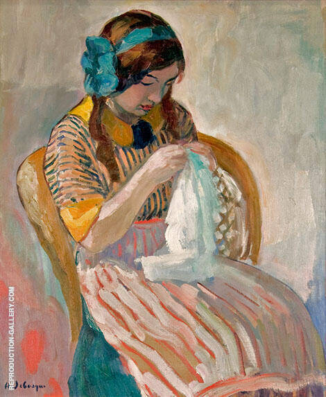 Young Girl Sewing By Henri Lebasque