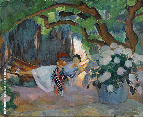 Young Woman at Hammock 1923 By Henri Lebasque