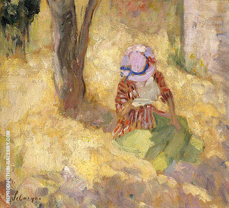Young Woman Reading in The Garden By Henri Lebasque