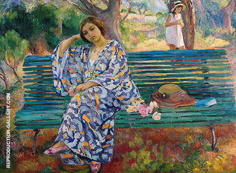 Young Woman Seated on a Bench 1911 Painting By Henri Lebasque