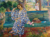 Young Woman Seated on a Bench 1911 By Henri Lebasque