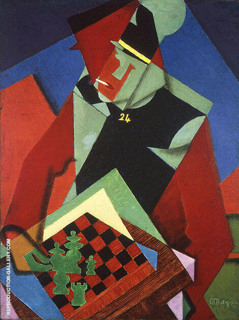 Soldier at a Game of Chess 1915 By Jean Metzinger