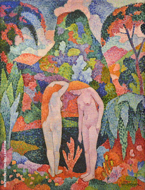 Two Nude in an Exotic Landscape 1905 By Jean Metzinger