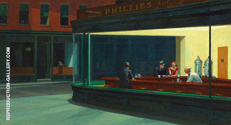 Reproduction of Nighthawks 1942 by Edward Hopper | Oil Painting Replica On CanvasReproduction Gallery