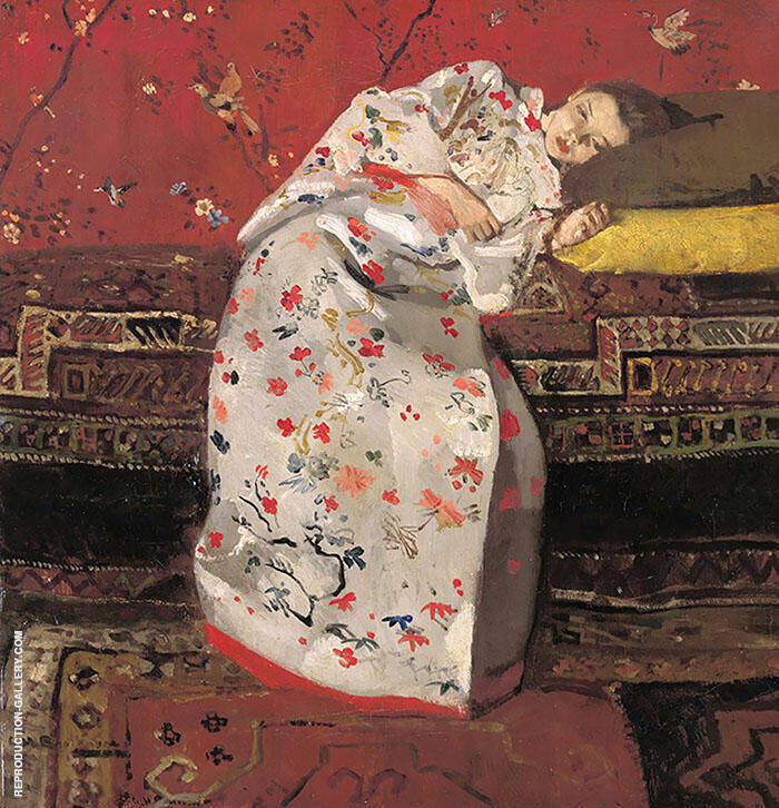 Girl in White Kimono 1894 Painting By George Hendrik Breitner