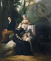 Portrait of The Borri Stampa Family By Francesco Hayez