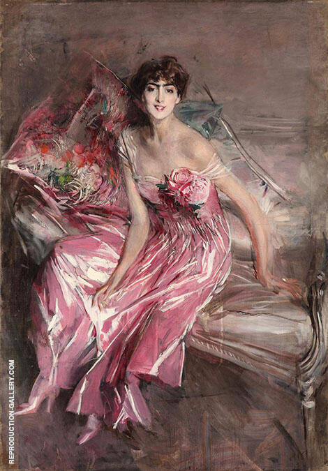 La Signora in Rosa Painting By Giovanni Boldini - Reproduction Gallery