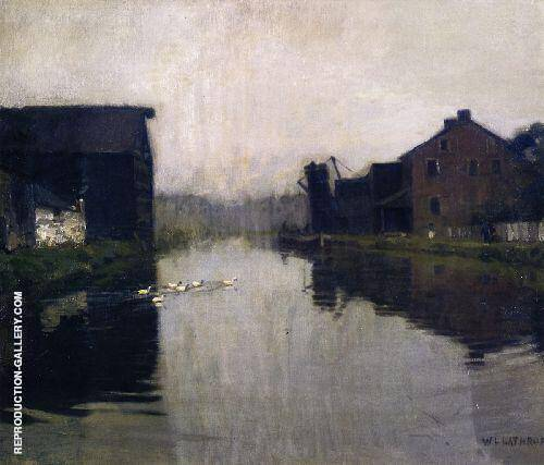 Misty Day on The Canal Painting By William Langson Lathrop
