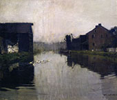 Misty Day on The Canal By William Langson Lathrop