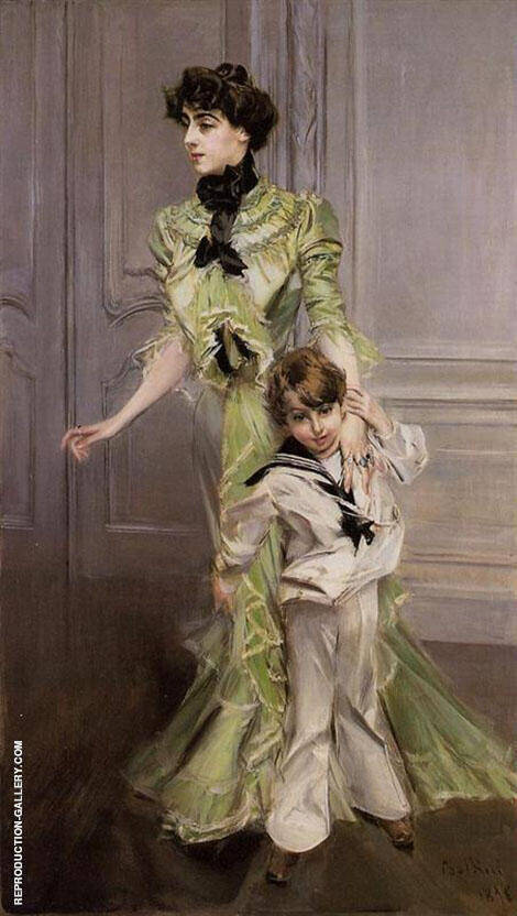 Madame Georges Hugo and Her Son Jean 1898 By Giovanni Boldini