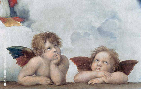 Putti (Cherubs) detail from Sistine Madonna 1513 Painting By Raphael