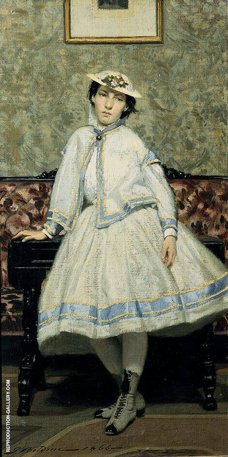 Portrait of Alaide Banti in White Dress 1866 Painting By Giovanni Boldini