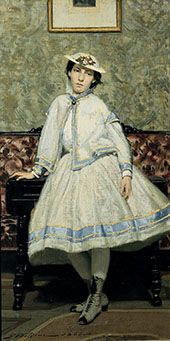 Portrait of Alaide Banti in White Dress 1866 By Giovanni Boldini