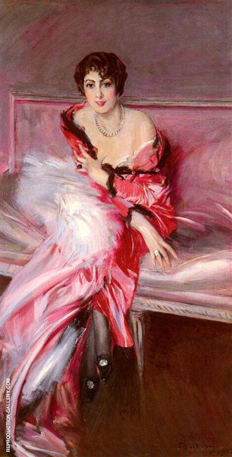 Portrait of Madame Juillard in Red 1912 By Giovanni Boldini